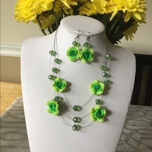 Three Layers Multi Green Flowers necklace earring